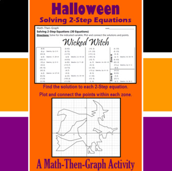 Wicked Witch - A Math-Then-Graph Activity - Solve 2-Step Equations