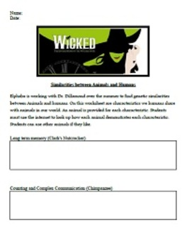 Wicked by Gregory Maguire Similarities between Animals & Humans Worksheet