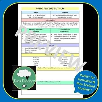 Wide Reading Booklet for Junior Secondary – Reading Log, Reading Responses,Tasks