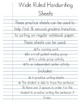 Wide Ruled Handwriting Practice Sheets By Ashleigh Marion Tpt