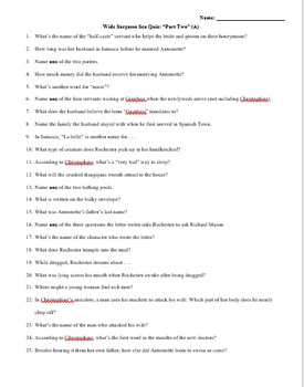 Wide Sargasso Sea Quizzes (Parts One and Two)