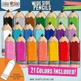 Wide Side Pencils Clip Art