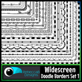 Widescreen 16:9 Doodle Borders Clip Art Set 1 - Google Slides™ and PowerPoint™