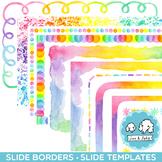 Widescreen PASTEL Rainbow Watercolor Borders | Fits Google Slides & PPT 16:9