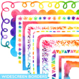 Widescreen Rainbow Watercolor Borders | Fits Google Slides and Powerpoint 16:9