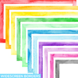Widescreen Watercolor Border Clipart | Fits Google Slides and Powerpoint 16:9