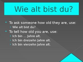 Wie alt (Age in German) power point