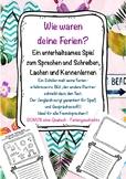 Wie waren deine Ferien? German Worksheet Back to School activity Deutsch