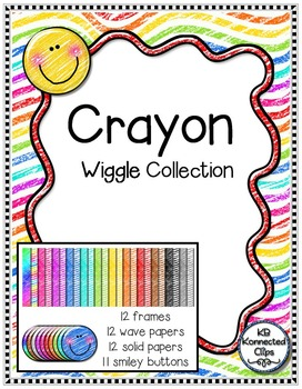 Wiggle Collection - Crayon Edition - Frames, Papers, and Smiley Buttons