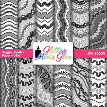 B&W Wiggle Doodles Paper {Scrapbook Backgrounds for Task C