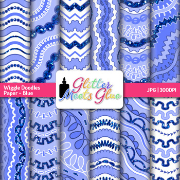 Blue Wiggle Doodle Paper {Scrapbook Backgrounds for Task Cards & Brag Tags}