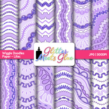 Lilac Wiggle Doodle Paper | Scrapbook Backgrounds for Task Cards & Brag Tags