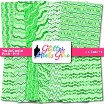 Mint Wiggle Doodle Paper {Scrapbook Backgrounds for Task Cards & Brag Tags}