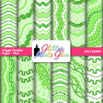 Mint Wiggle Doodle Paper {Scrapbook Backgrounds for Task Cards & Brag Tags}