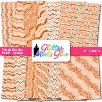 Orange Wiggle Doodle Paper {Scrapbook Backgrounds for Task Cards & Brag Tags}