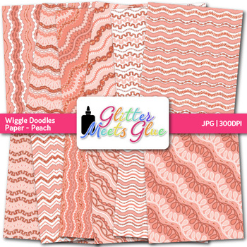 Peach Wiggle Doodle Paper {Scrapbook Backgrounds for Task Cards & Brag Tags}