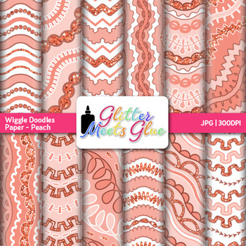 Peach Wiggle Doodle Paper   Scrapbook Backgrounds for Task Cards & Brag Tags