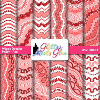 Red Wiggle Doodles Paper {Scrapbook Backgrounds for Task Cards & Brag Tags}