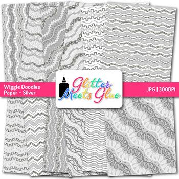 Silver Wiggle Doodle Paper   Scrapbook Backgrounds for Task Cards & Brag Tags