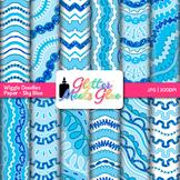 Sky Blue Wiggle Doodle Paper {Scrapbook Backgrounds for Ta