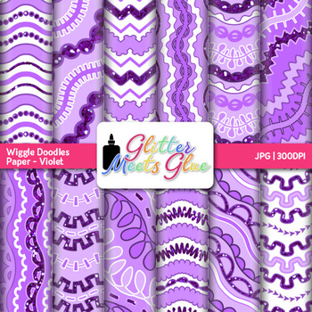 Violet Wiggle Doodle Paper   Scrapbook Backgrounds for Task Cards & Brag Tags