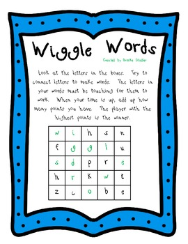 Wiggle Words Word Game- Unit 1