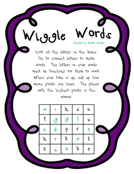 Wiggle Words Word Game- Unit 2