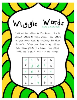 Wiggle Words Word Game- Unit 4