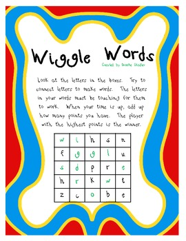 Wiggle Words Word Game- Unit 5