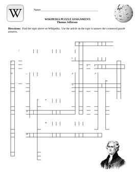 Wikipedia Biography Puzzle- Thomas Jefferson  Internet Assignment
