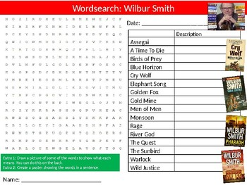 Wilbur Smith Wordsearch Sheet Starter Activity Keywords Cover English Author