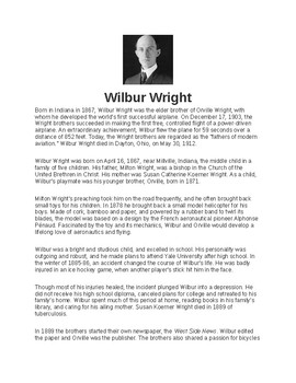 Wilbur Wright Article Biography and Assignment