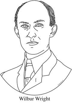 Wilbur Wright Realistic Clip Art, Coloring Page, and Poster