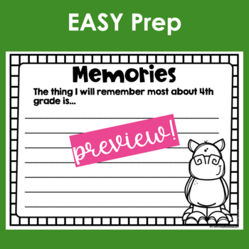 End of the Year Memory Book -Fourth Grade