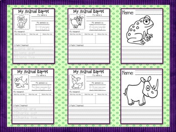 Wild About Animals Research Reports - Differentiated Writing for K and 1