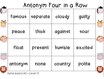 Wild About Antonyms Level 3