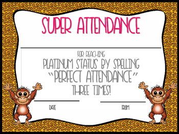 Wild About Attendance Editable Awards