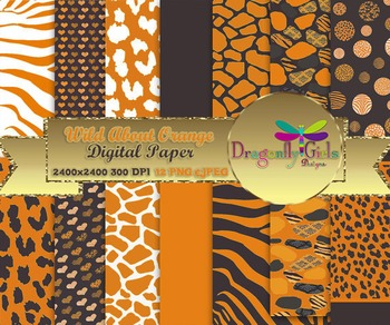 Wild About Burnt Orange digital paper, commercial use, scrapbook papers