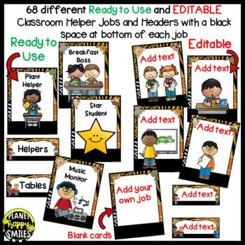 "Classroom Helper Jobs (EDITABLE) ~ ""Wild About Helping"" Safari/Jungle Theme"