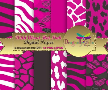 Wild About Hot Pink digital paper, commercial use, scrapbook papers