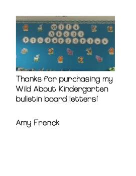 Wild About Kindergarten Bulletin Board Letters