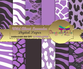 Wild About Lavender digital paper, commercial use, scrapbo