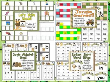 Wild About Learning Kindergarten Jungle Literacy Centers- Mega Pack