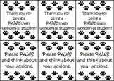 Paw Print Behavior Cards - Black & White
