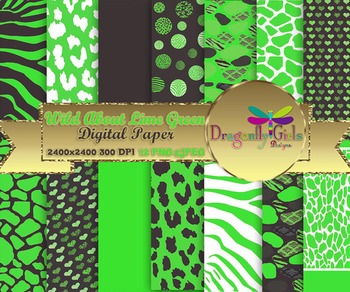 Wild About Lime Green digital paper, commercial use, scrap