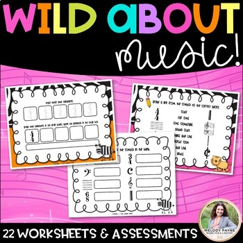 Wild About Music! Set 3: Parts of the Grand Staff {22 Total Sheets}