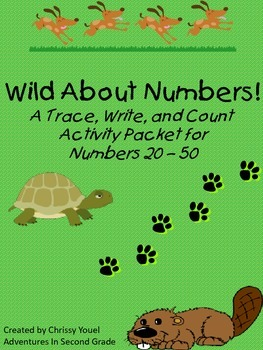 Wild About Numbers:  A Trace, Write, and Count Activity Packet for Numbers 20-50