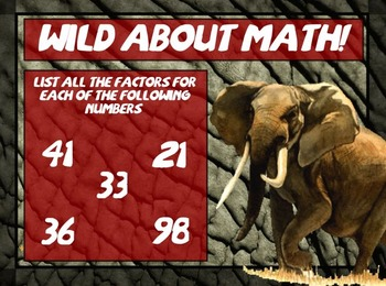 Wild About Numbers: Prime Composite and Square Practice
