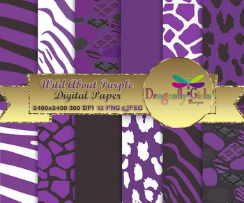 Wild About Purple digital paper, commercial use, scrapbook papers