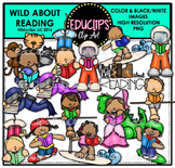 Wild About Reading Clip Art Bundle {Educlips Clipart}